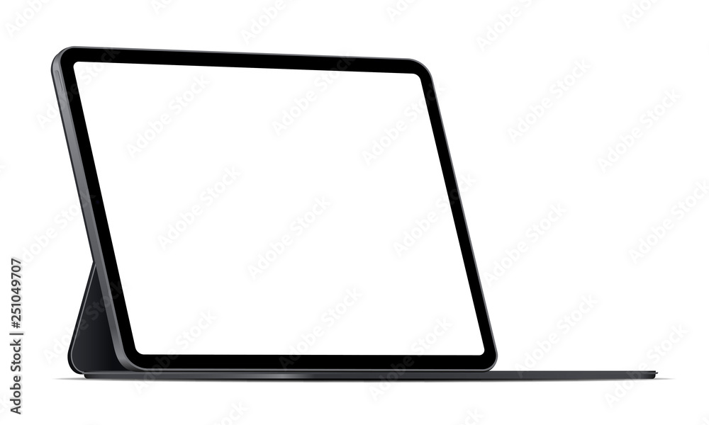Fototapeta Modern tablet computer stand with blank screen isolated on white background - side view. Vector illustration