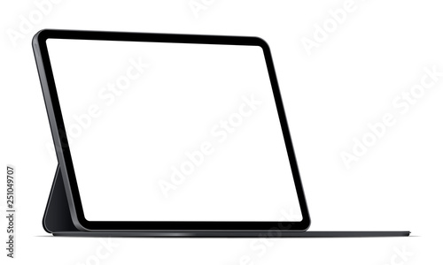 Fotografia  Modern tablet computer stand with blank screen isolated on white background - side view