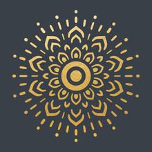 Beautiful Golden Sun. Hand Drawn. Ornamental Mandala.