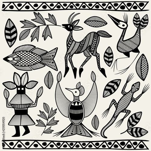 Photo sur Toile Draw African Senufo Korhogo Tribal Ethnic Art Elements Vector Fabric Design
