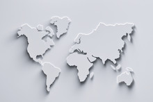 World Map 3d In White Colors W...