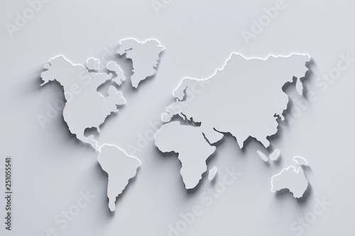 World map 3d in white colors with shadows and glowing edges. 3d illustration.