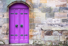 Purple Old Wooden Door Rustic Ancient House Entrance In Culross