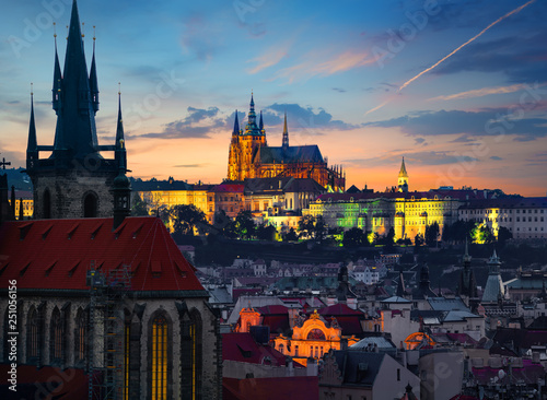 Fotografie, Obraz  Landmarks of Prague in evening