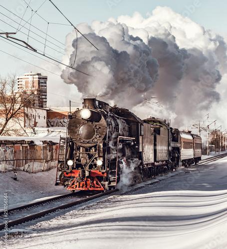 Fototapeta Steam train moves toward. obraz na płótnie