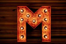 Steampunk Mechanical Metal Alphabet Letter M. Photo Compilation