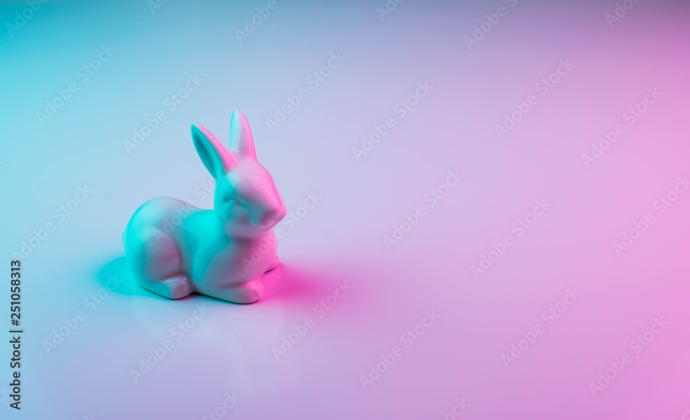 Fototapety, obrazy: White Easter bunny with colorful ultraviolet holographic neon lights. Creative concept.