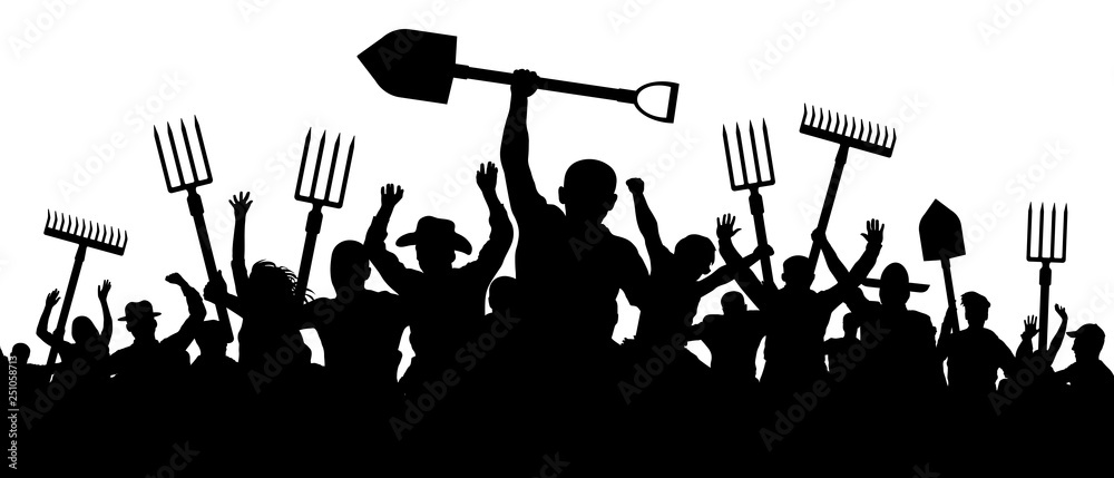 Fototapeta Angry peasants protest demonstration. A crowd of people with a pitchfork shovel rake. Riot workers vector silhouette
