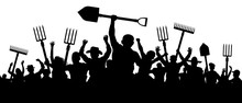 Angry Peasants Protest Demonstration. A Crowd Of People With A Pitchfork Shovel Rake. Riot Workers Vector Silhouette