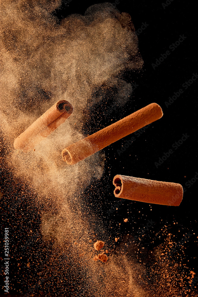 Obraz Food explosion with cinnamon sticks and powder fototapeta, plakat