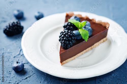 Chocolate tart with blackberries and blueberries Fototapeta