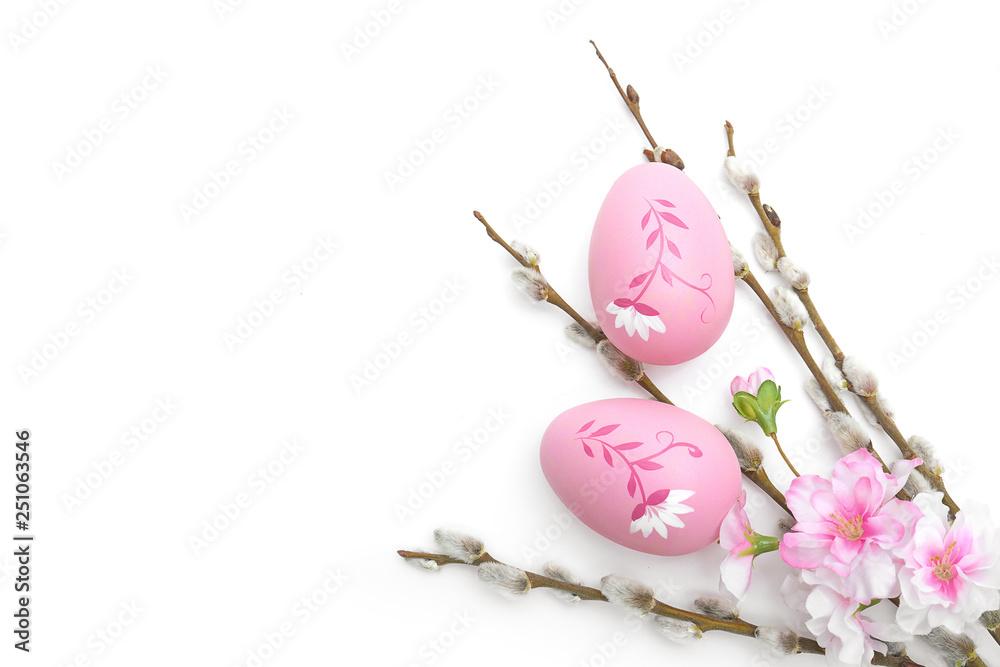Fototapeta Wielkanoc jajka i ozdoby na białym tle - obraz na płótnie