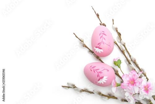 Fototapeta Wielkanoc jajka i ozdoby na białym tle obraz
