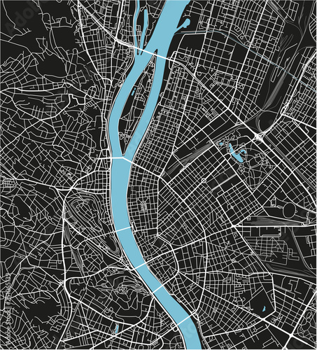 Fotografía Black and white vector city map of Budapest with well organized separated layers