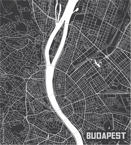 Photo Minimalistic Budapest city map poster design.