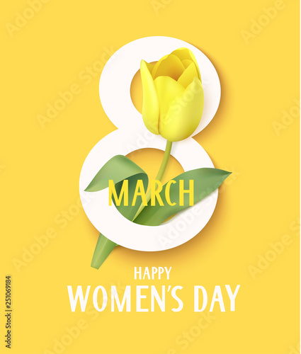 Obraz Happy Womens day. 8 march symbol with yellow tulip. Vector illustration - fototapety do salonu