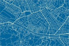 Blue And White Vector City Map Of Florence With Well Organized Separated Layers.
