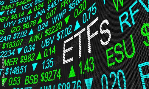 Fotografía ETFs Exchange Traded Funds Stock Market Investment 3d Illustration