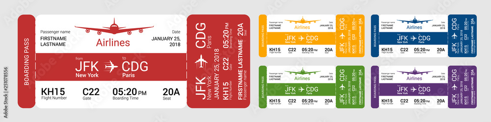 Fototapety, obrazy: Set of different boarding pass isolated on a gray background. Vector illustration.
