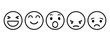 Set of Emoticons. Emoji social network reactions icon. Yellow smilies, set smiley emotion, by smilies, cartoon emoticons - vector