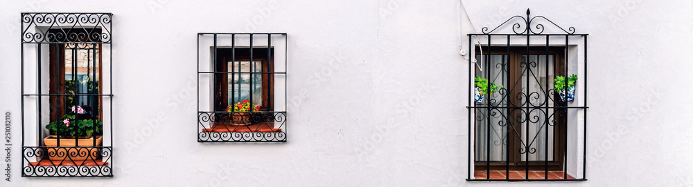 Fototapety, obrazy: Windows with steel lattice on a whitewashed wall