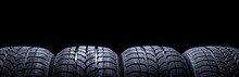 Car Tires Isolated On Black Ba...