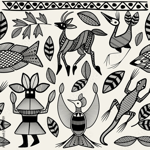 Photo sur Toile Draw African Senufo Korhogo Tribal Ethnic Art Seamless Pattern