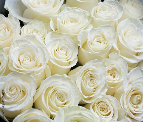 Fotobehang Roses Fresh white roses bouquet flower background