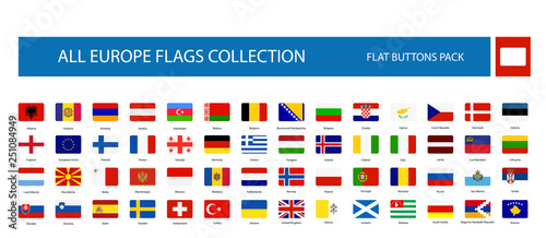Fotografía  All Europe Flags round rectangle flat buttons isolated on white