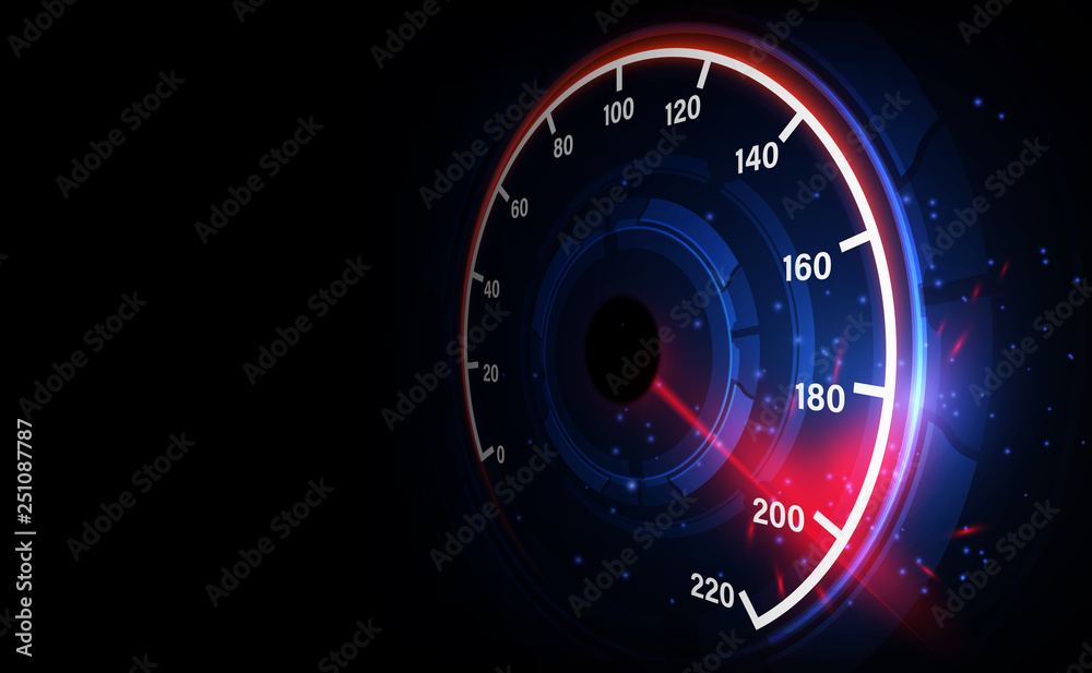 Fototapeta Speed motion background with fast speedometer car. Racing velocity background.
