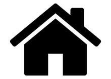 Gz327 GrafikZeichnung - Siwb546 SignIsolatedWhiteBackground Siwb - German: Haus / English: House - Simple Template - DIN A2, A3, A4 - G7251