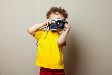 Child With Camera. Little Boy ...