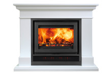 Burning White Fireplace Isolat...