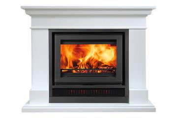 Burning white fireplace isolated on white background