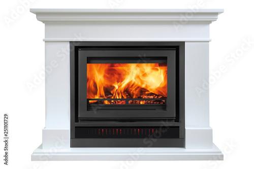 Valokuva Burning white fireplace isolated on white background