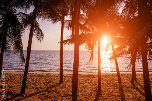 Foto auf Leinwand Rot kubanischen Beautiful tropical beach with palm trees. Sunrises and sunsets. Ocean.
