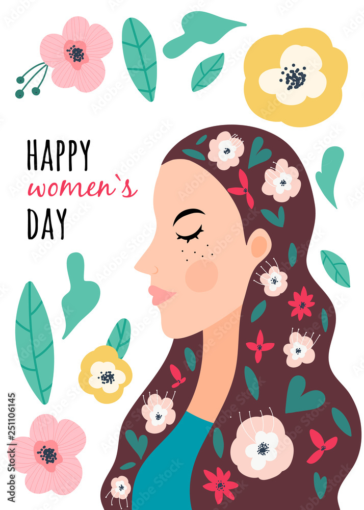 International Women's Day. Greeting card. Vector illustration with woman with flowers. Struggle for freedom and equality.