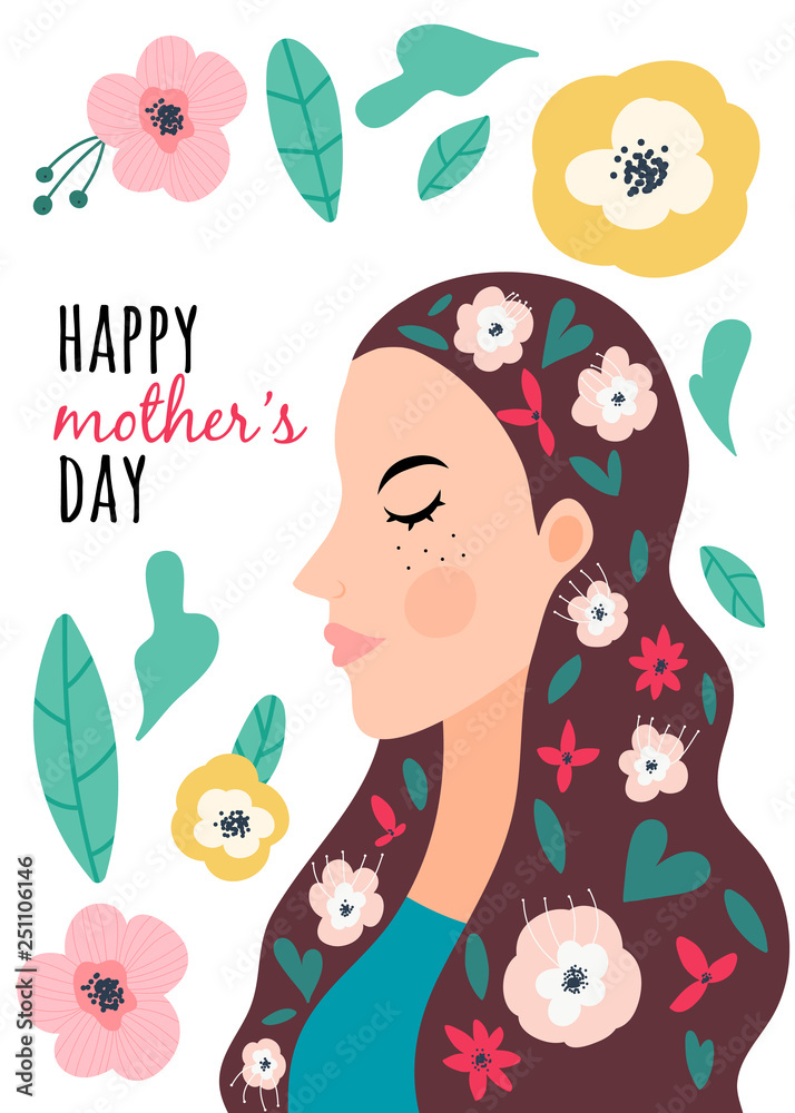 Mother's Day, greeting card.Vector illustration with woman with flowers. .Concept of family and happiness..