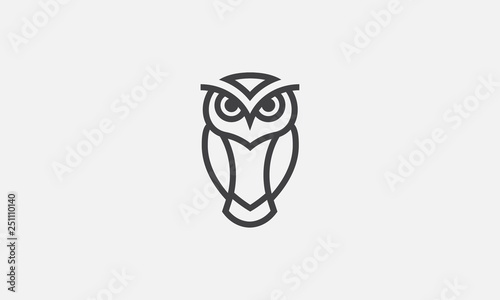 Poster Uilen cartoon owl illustration, owl logo design, vector