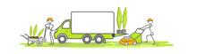 Jardiniers En équipe Avec Camion