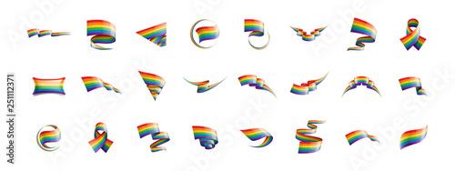 Fotografia  Vector a rainbow flag waving on white background