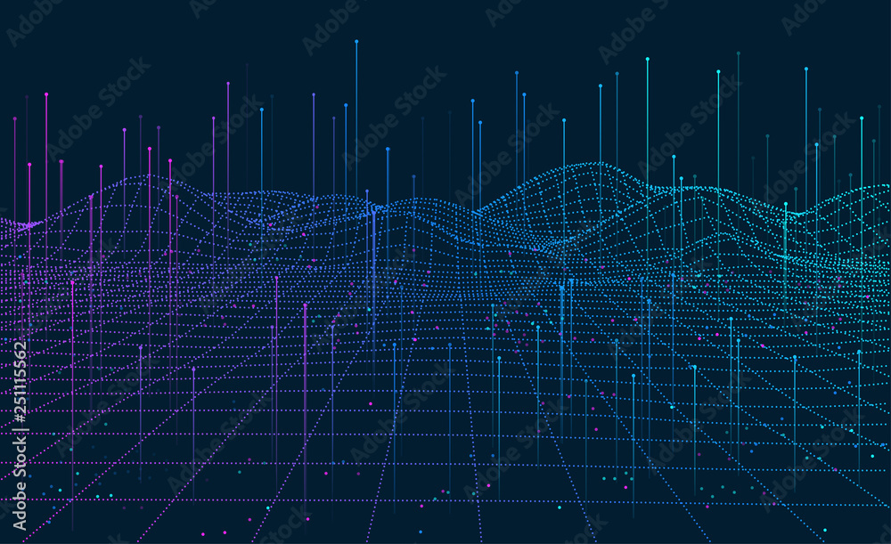Fototapety, obrazy: Big Data visualization. 3D network background. Intelligence artificial. Wireframe landscape background