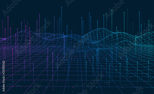 Foto op Plexiglas Abstract wave Big Data visualization. 3D network background. Intelligence artificial. Wireframe landscape background