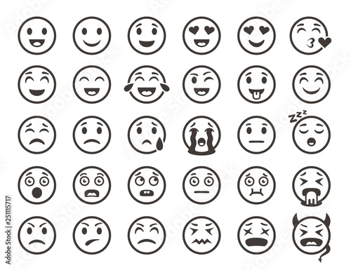 Emoticons outline. Emoji faces emoticon funny smile vector line icons set