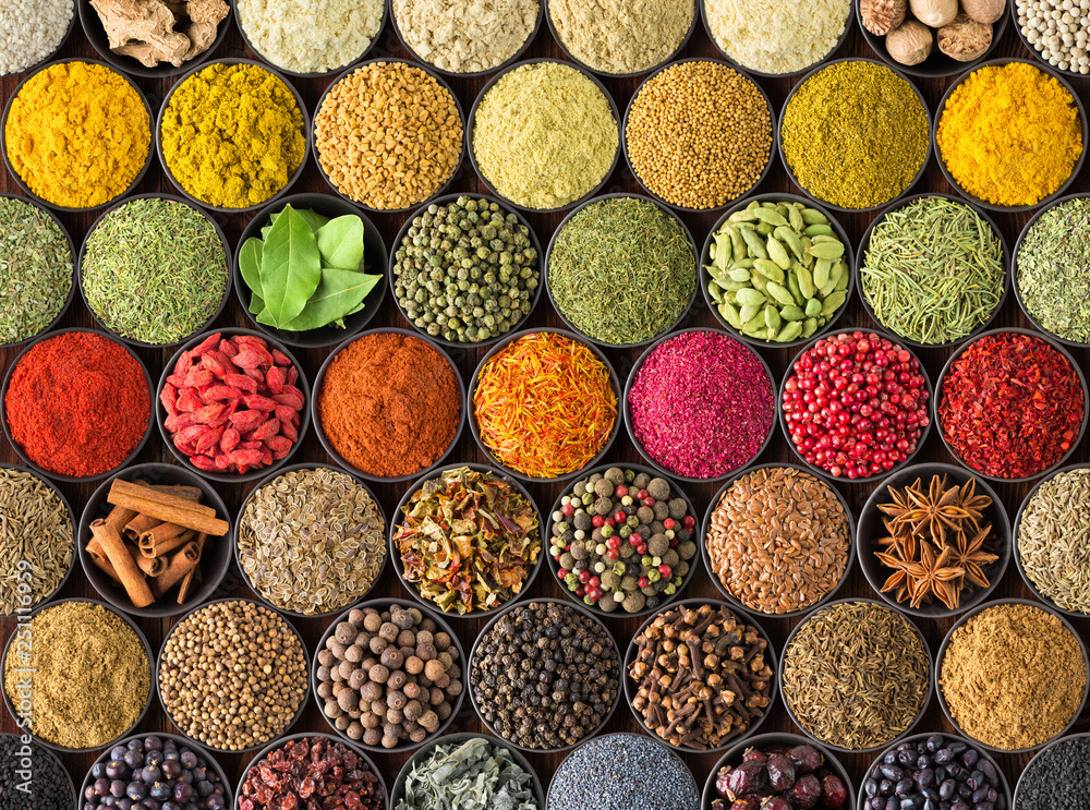 Fototapety, obrazy: colorful spice background, top view.  seasonings and herbs for European food