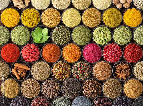 Foto colorful spice background, top view