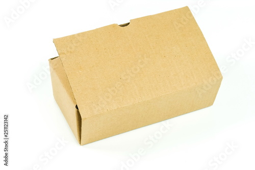 Fototapeta close up view of opened cardboard box on white background obraz