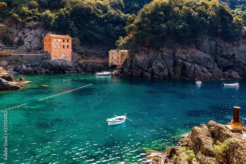 Small bay in San Fruttuoso, Italy. Wallpaper Mural