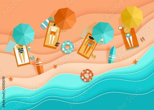 Fotografie, Obraz Beach background sea waves sand sunbathing people umbrella papercut paper craft
