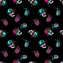 SKULL WITH COCKTAIL AND CAP SEAMLESS PATTERN BLACK BACKGROUND